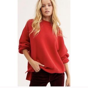 NEW free people easy street tunic sweater red S